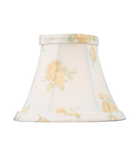 Livex S324 Chandelier Shade White with Peach Floral Print Silk Bell Clip Shade Shade photo
