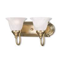 Livex 1002-01 Belmont 2 Light 14 inch Antique Brass Bath Light Wall Light