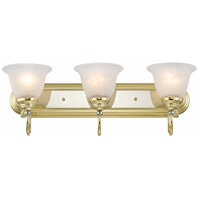 Livex 1003-25 Belmont 3 Light 24 inch Polished Brass & Chrome Bath Light Wall Light in Polished Brass and Chrome