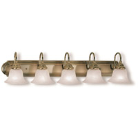 Livex 1005-01 Belmont 5 Light 36 inch Antique Brass Bath Light Wall Light