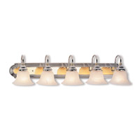 Livex 1005-52 Belmont 5 Light 36 inch Chrome & Polished Brass Bath Light Wall Light in Chrome and Polished Brass