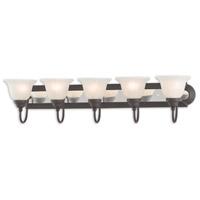 Livex 1005-75 Belmont 5 Light 36 inch Bronze and Chrome Bath Vanity Wall Light