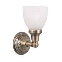 Livex 1021-01 Classic 1 Light 6 inch Antique Brass Bath Light Wall Light in Satin Opal White