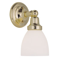 Livex 1021-02 Classic 1 Light 6 inch Polished Brass Bath Light Wall Light in Satin