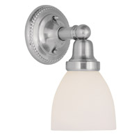 Livex 1021-91 Classic 1 Light 6 inch Brushed Nickel Bath Light Wall Light in Satin photo thumbnail
