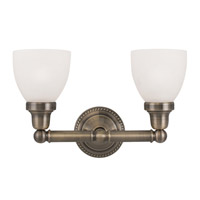 Classic 2 Light 16 inch Antique Brass Bath Light Wall Light in Satin Opal White