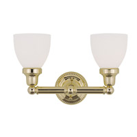 Livex 1022-02 Classic 2 Light 16 inch Polished Brass Bath Light Wall Light in Satin