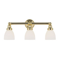 Livex 1023-02 Classic 3 Light 24 inch Polished Brass Bath Light Wall Light in Satin