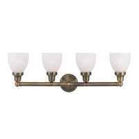 Classic 4 Light 30 inch Antique Brass Bath Light Wall Light in Satin Opal White