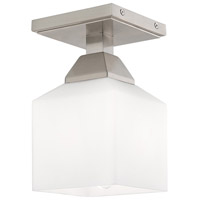 Livex 10280-91 Aragon 1 Light 5 inch Brushed Nickel Flush Mount Ceiling Light
