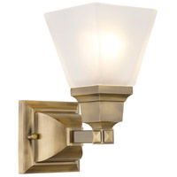 Livex 1031-01 Mission 1 Light 6 inch Antique Brass Bath Light Wall Light