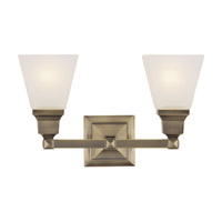 Livex 1032-01 Mission 2 Light 17 inch Antique Brass Bath Light Wall Light