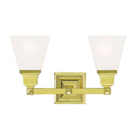 Livex 1032-02 Mission 2 Light 17 inch Polished Brass Vanity Light Wall Light photo thumbnail