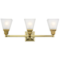 Mission 3 Light 26 inch Polished Brass Vanity Light Wall Light
