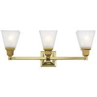 Livex Lighting 1033-02 Mission 3 Light 25 inch Polished Brass Bath Vanity Wall Light