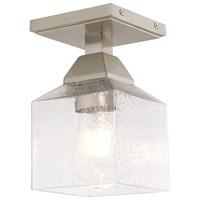 Livex 10380-91 Aragon 1 Light 5 inch Brushed Nickel Flush Mount Ceiling Light