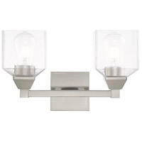 Livex 10382-91 Aragon 2 Light 15 inch Brushed Nickel Vanity Light Wall Light