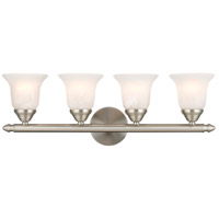 Home Basics 4 Light 24 inch Brushed Nickel Bath Light Wall Light