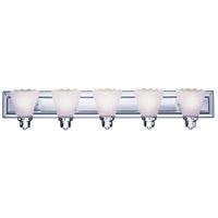 Livex 1205A-05 Limited 5 Light 36 inch Polished Chrome Bath Light Wall Light