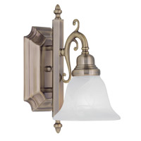 French Regency 1 Light 6 inch Antique Brass Bath Light Wall Light