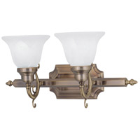 French Regency 2 Light 19 inch Antique Brass Bath Light Wall Light