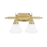 French Regency 2 Light 19 inch Polished Brass Bath Light Wall Light