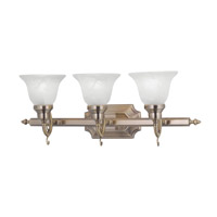 French Regency 3 Light 25 inch Antique Brass Bath Light Wall Light