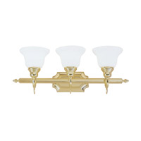 French Regency 3 Light 25 inch Polished Brass Bath Light Wall Light