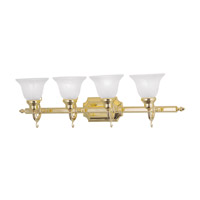 French Regency 4 Light 33 inch Polished Brass Bath Light Wall Light