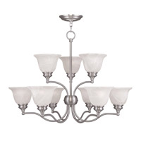 Livex Lighting Essex 9 Light Chandelier in Brushed Nickel 1349-91