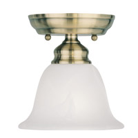 Livex 1350-01 Essex 1 Light 6 inch Antique Brass Ceiling Mount Ceiling Light