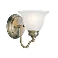 Livex 1351-01 Essex 1 Light 6 inch Antique Brass Bath Light Wall Light