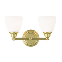 Livex 13662-02 Somerville 2 Light 15 inch Polished Brass Vanity Light Wall Light