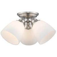 Somerville 3 Light 14 inch Brushed Nickel Flush Mount Ceiling Light