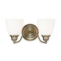 Livex Somerville 2 Light Vanity Light in Antique Brass 13672-01