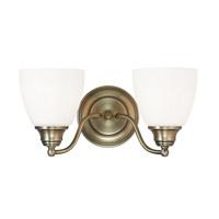 Livex 13672-01 Somerville 2 Light 15 inch Antique Brass Vanity Light Wall Light