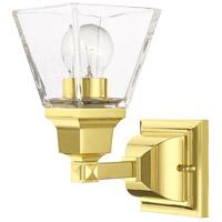 Livex 17171-02 Mission 1 Light 5 inch Polished Brass Sconce Wall Light
