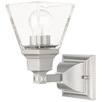 Livex 17171-91 Mission 1 Light 5 inch Brushed Nickel Sconce Wall Light