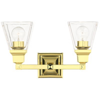 Livex 17172-02 Mission 2 Light 15 inch Polished Brass Vanity Sconce Wall Light
