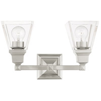 Livex Lighting 17172-91 Mission 2 Light 15 inch Brushed Nickel Vanity Sconce Wall Light
