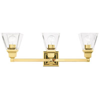 Livex 17173-02 Mission 3 Light 25 inch Polished Brass Vanity Sconce Wall Light