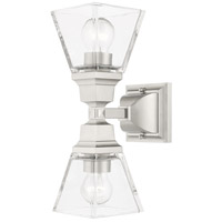 Livex 17178-91 Mission 2 Light 5 inch Brushed Nickel Sconce Wall Light