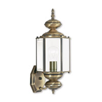 Livex Lighting Outdoor Basics 1 Light Outdoor Wall Lantern in Antique Brass 2006-01