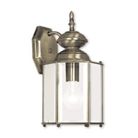 Livex Lighting Outdoor Basics 1 Light Outdoor Wall Lantern in Antique Brass 2007-01