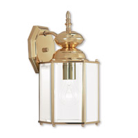 Livex 2007-02 Outdoor Basics 1 Light 13 inch Polished Brass Outdoor Wall Lantern