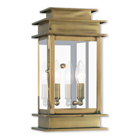Livex Lighting Princeton 2 Light Outdoor Wall Lantern in Antique Brass 2014-01
