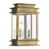 Livex Lighting Princeton 2 Light Outdoor Wall Lantern in Antique Brass 2016-01
