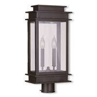 Livex 2017-07 Princeton 2 Light 21 inch Bronze Outdoor Post Head