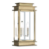 Livex Lighting Princeton 2 Light Outdoor Wall Lantern in Antique Brass 2018-01