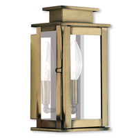 Livex Lighting Princeton 1 Light Outdoor Wall Lantern in Antique Brass 20191-01